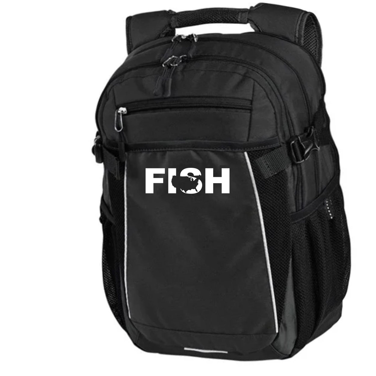Fish United States Classic Pro Pioneer Backpack Black (White Logo)
