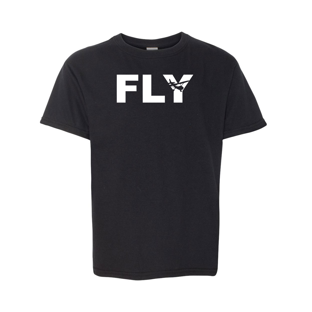 Fly Airplane Logo Classic Youth T-Shirt Black (White Logo)