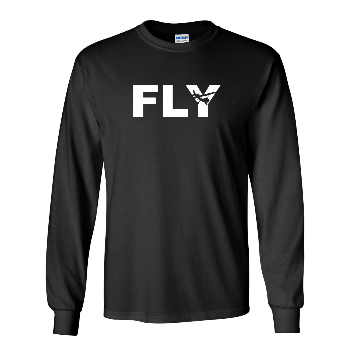 Fly Airplane Logo Classic Long Sleeve T-Shirt Black (White Logo)