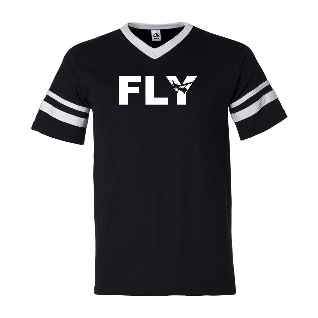 Fly Airplane Logo Classic Premium Striped Jersey T-Shirt Black/White (White Logo)