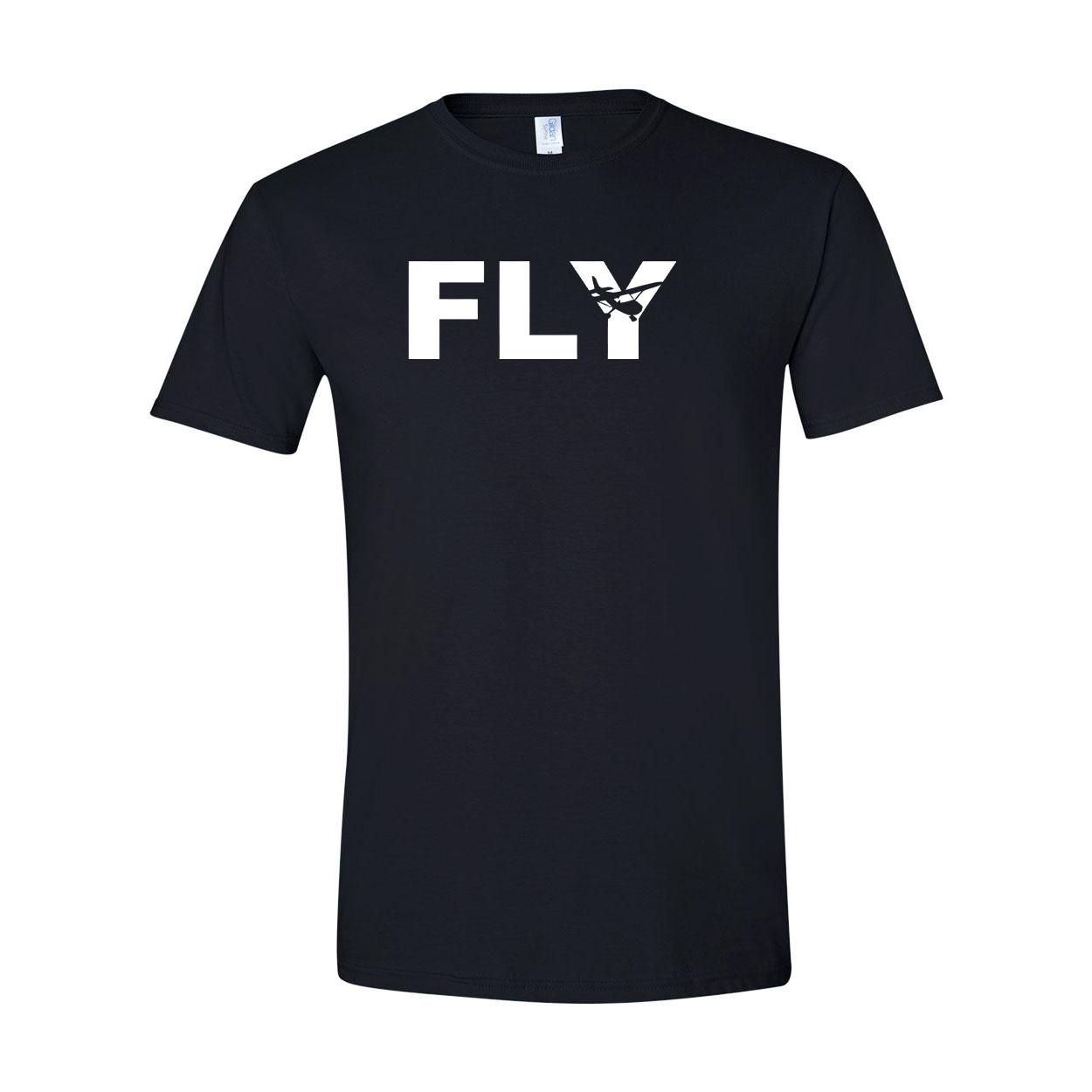 Fly Airplane Logo Classic T-Shirt Black (White Logo)