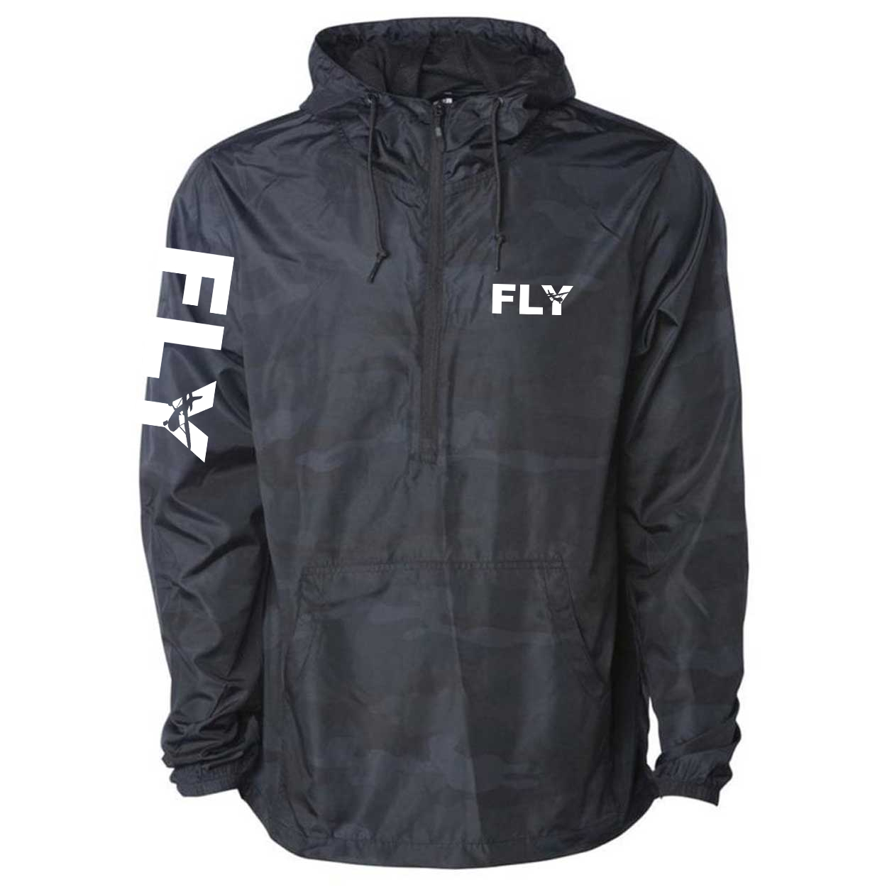 Fly Airplane Logo Classic Lightweight Pullover Windbreaker Black Camo (White Logo)