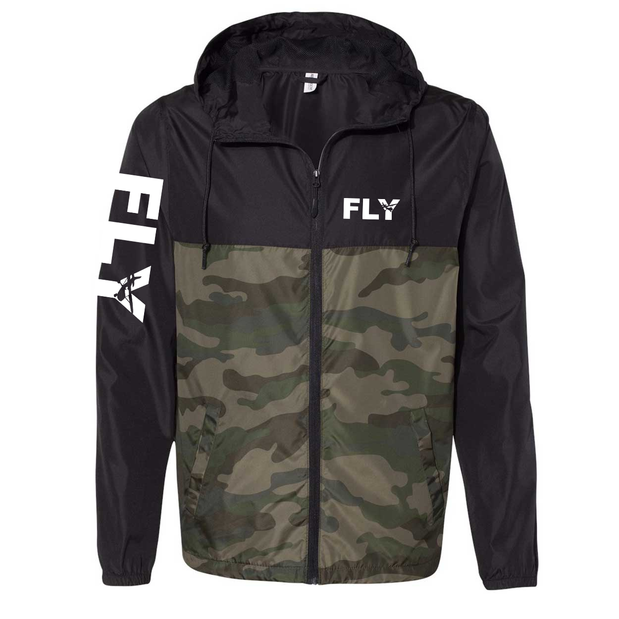 Fly Airplane Logo Classic Lightweight Windbreaker Black/Forest Camo (White Logo)