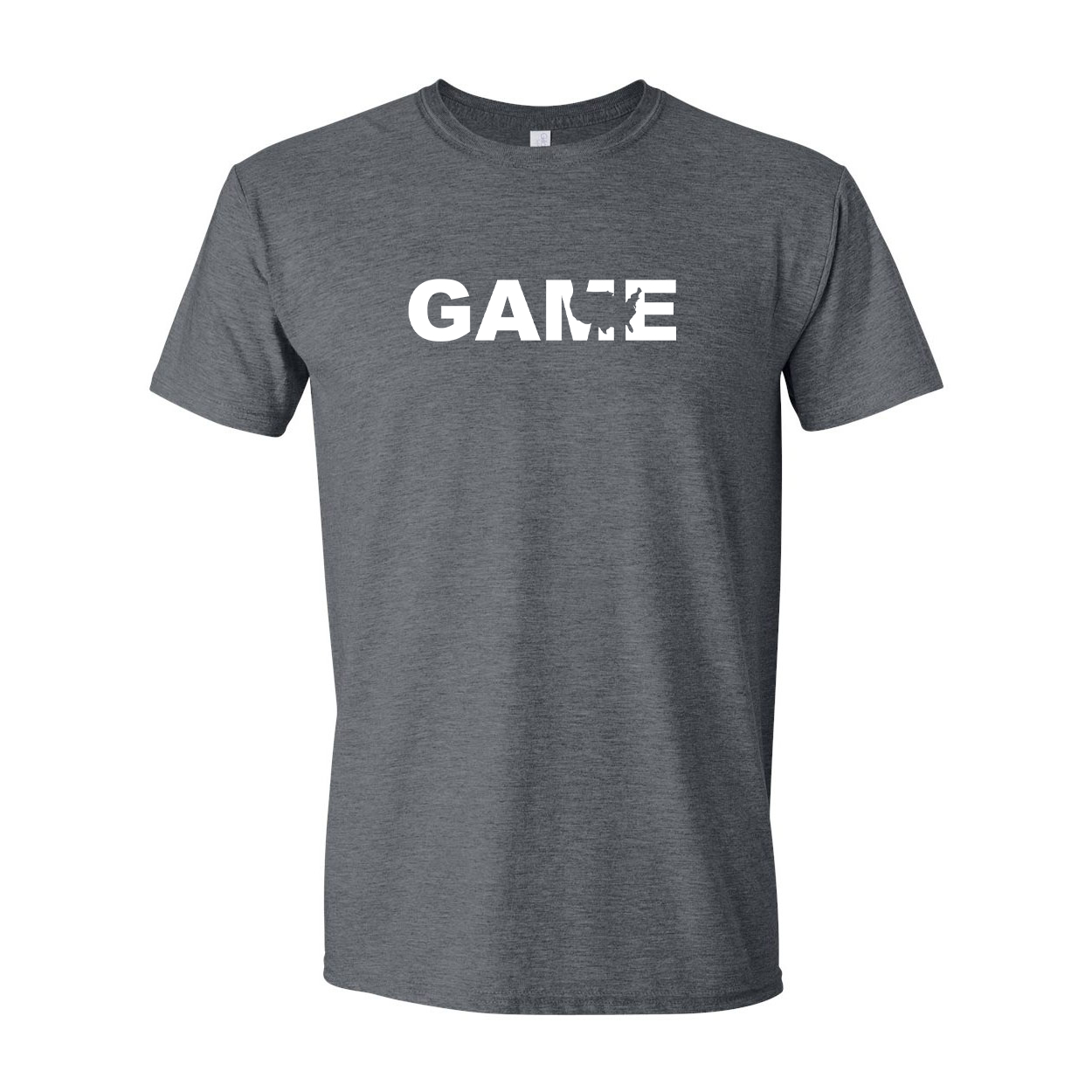 Game United States Classic T-Shirt Dark Heather Gray (White Logo)
