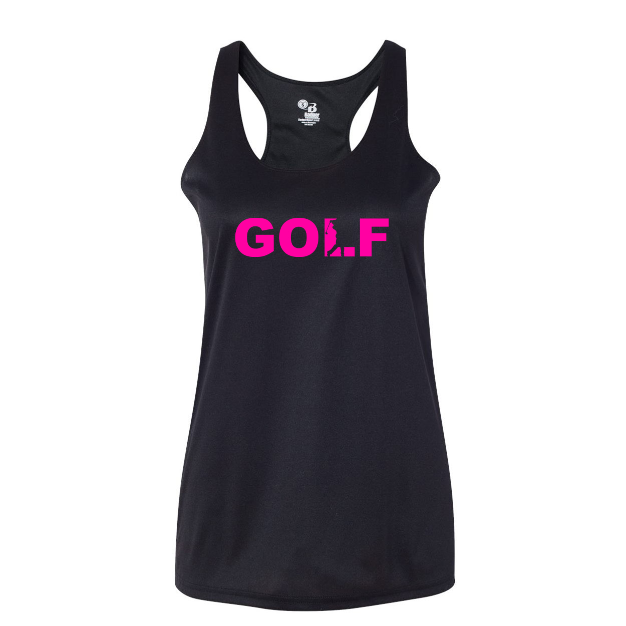 Golf Swing Logo Classic Womens Performance Racerback Tank Top Black (Pink Logo)