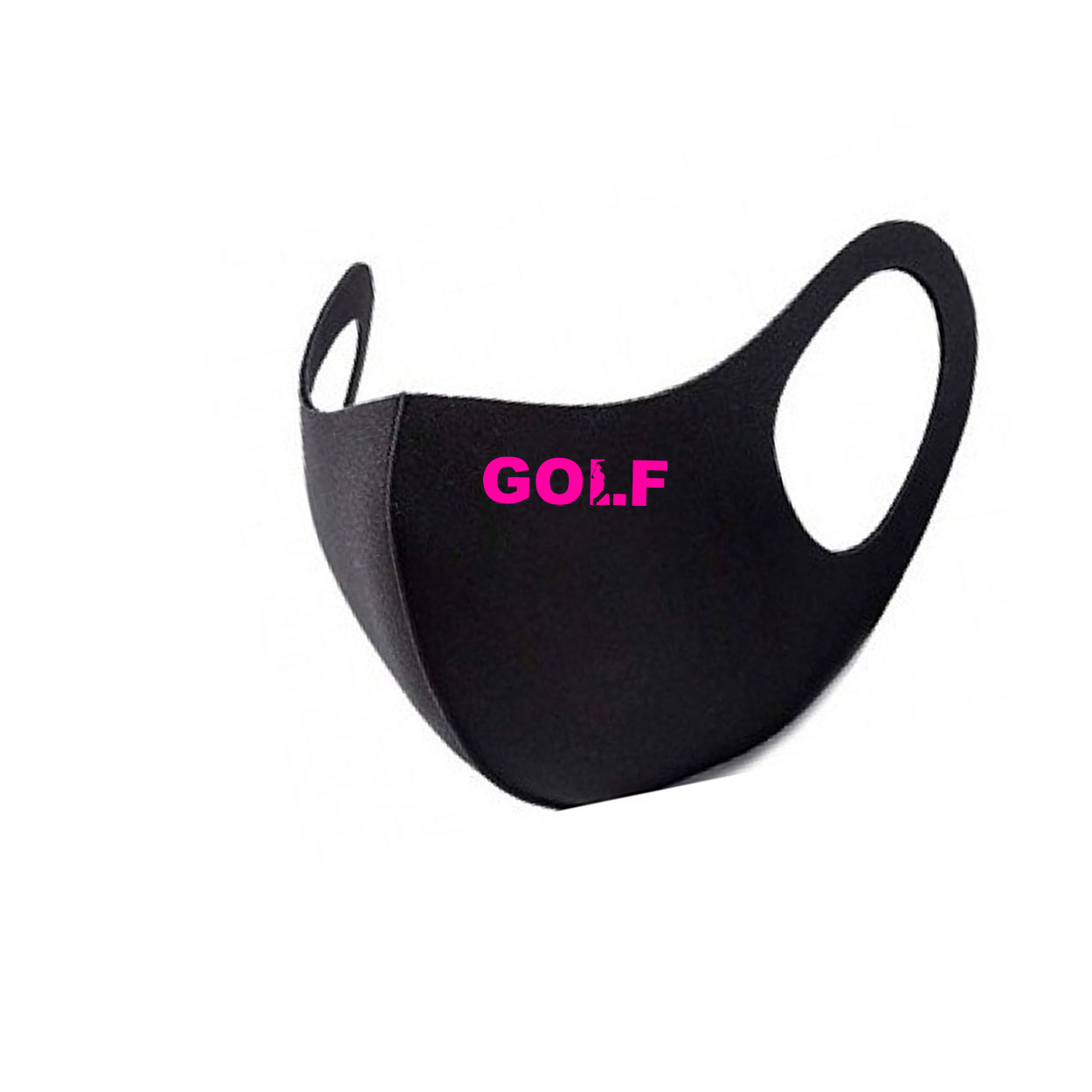 Golf Swing Logo Night Out Fitted Washable Face Mask Black (Pink Logo)
