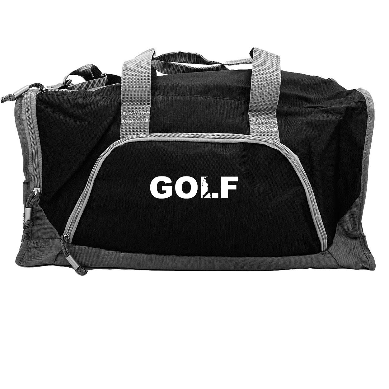 Golf Swing Logo Classic Rangeley Sport Duffel Bag Black (White Logo)