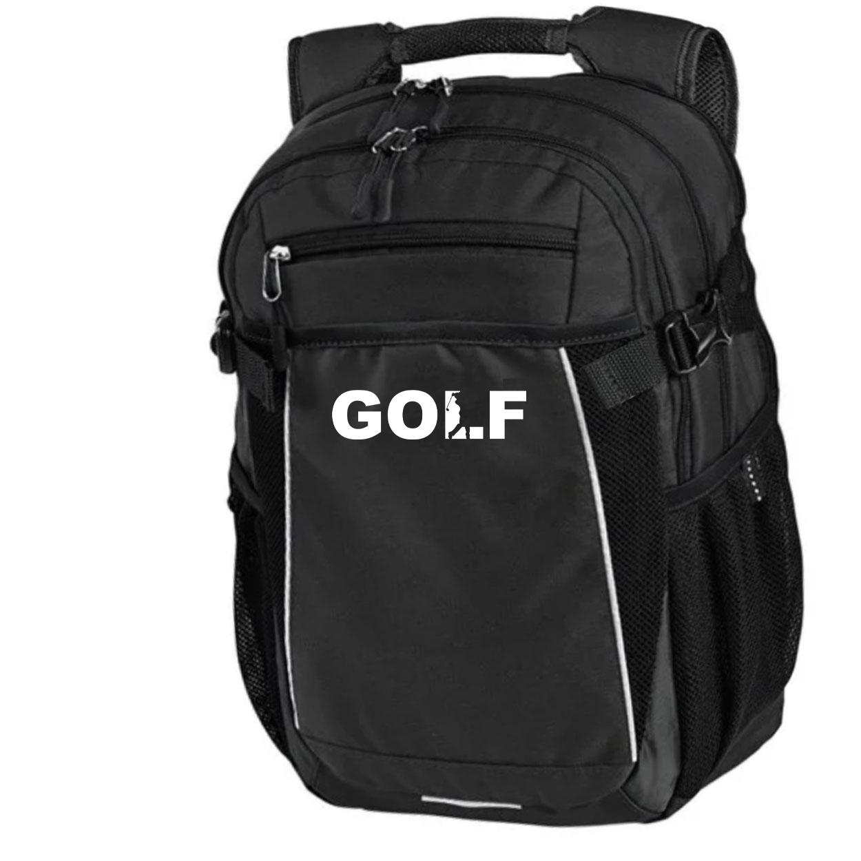 Golf Swing Logo Classic Pro Pioneer Backpack Black (White Logo)