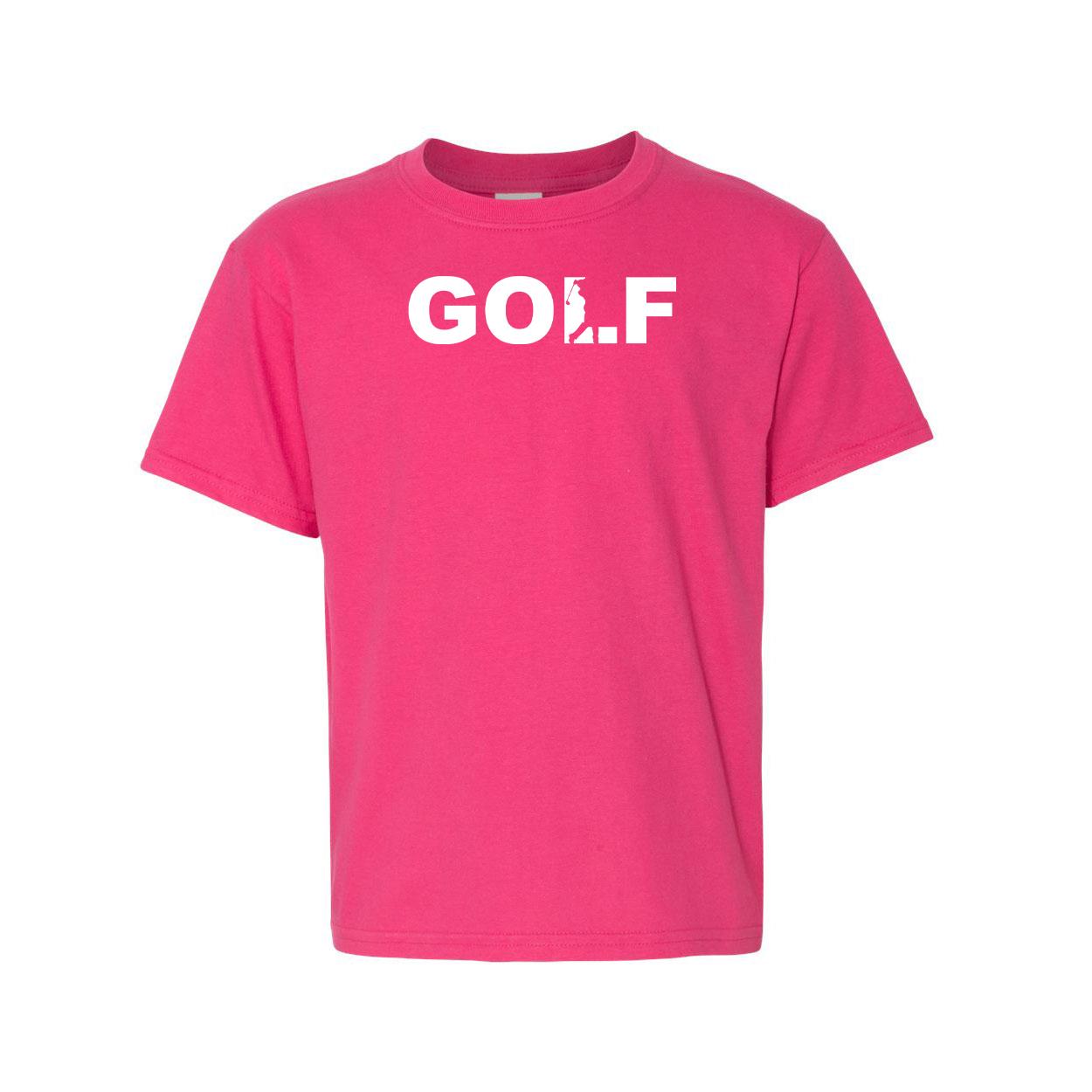 Golf Swing Logo Night Out Youth T-Shirt Pink (White Logo)