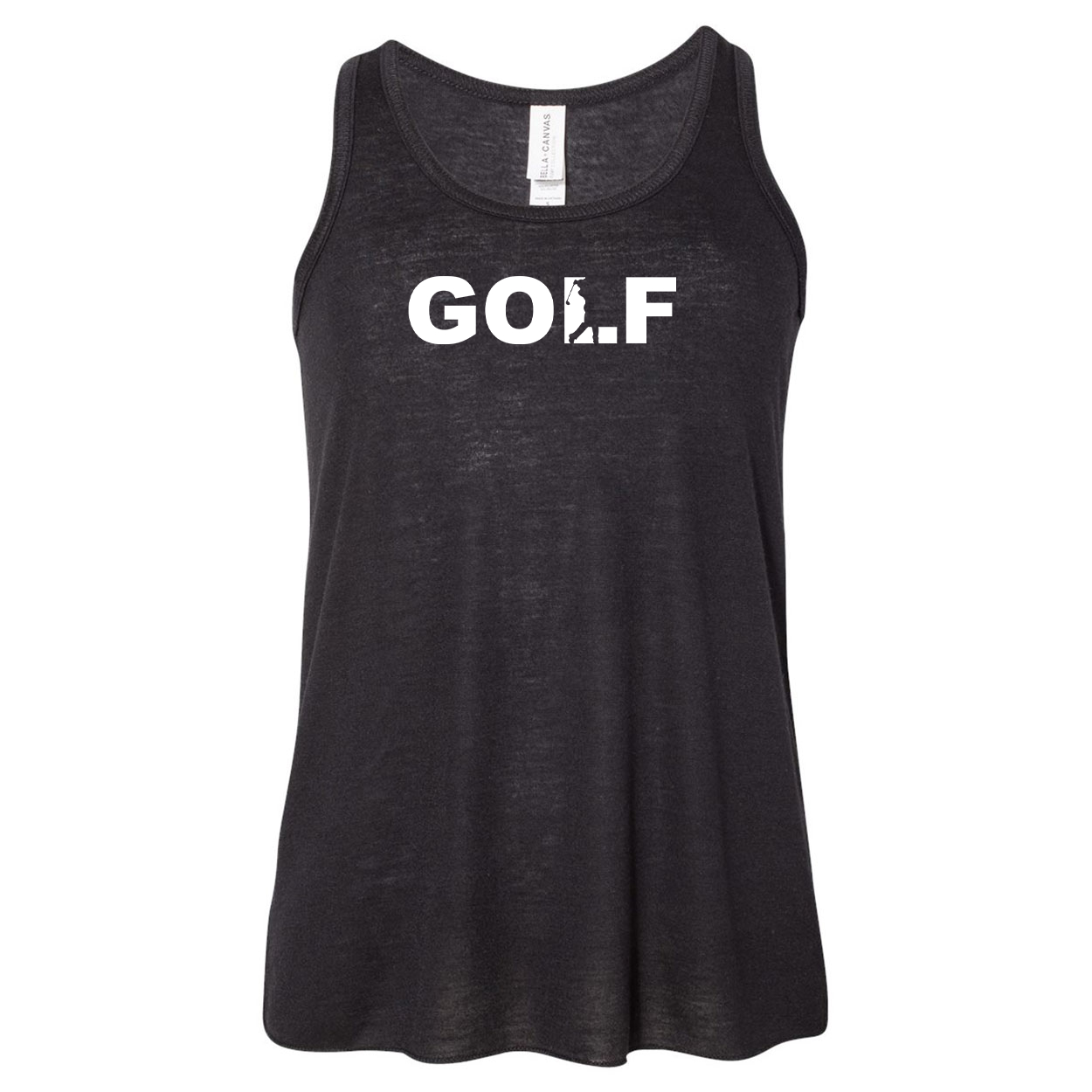 Golf Swing Logo Classic Youth Girls Flowy Racerback Tank Top Black (White Logo)