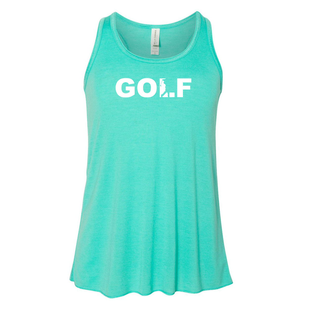 Golf Swing Logo Classic Youth Girls Flowy Racerback Tank Top Teal (White Logo)