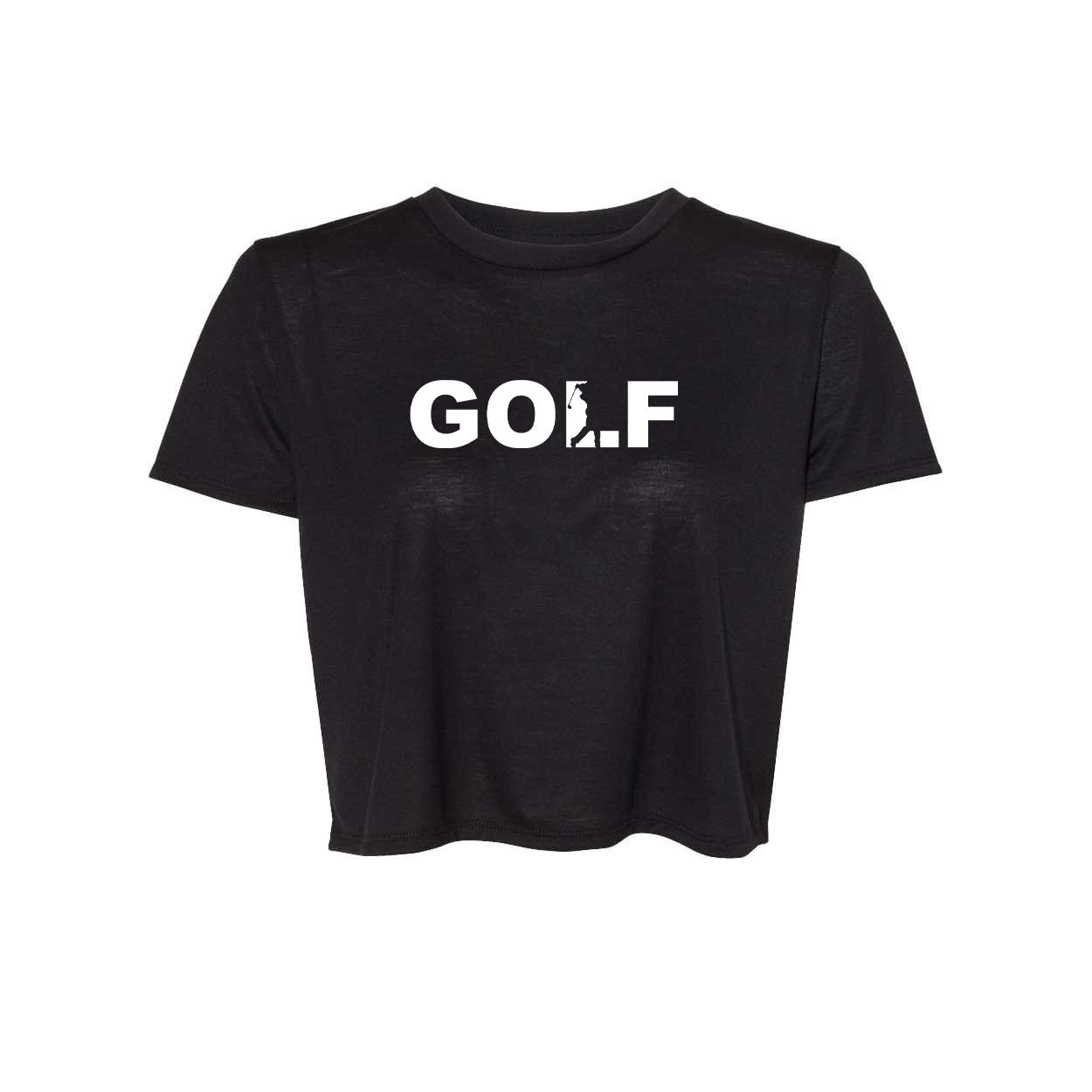Golf Swing Logo Classic Womens Flowy Cropped Tee Black (White Logo)