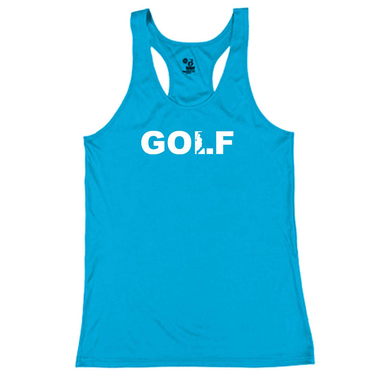Golf Swing Logo Classic Youth Girls Performance Racerback Tank Top Electric Blue (White Logo)