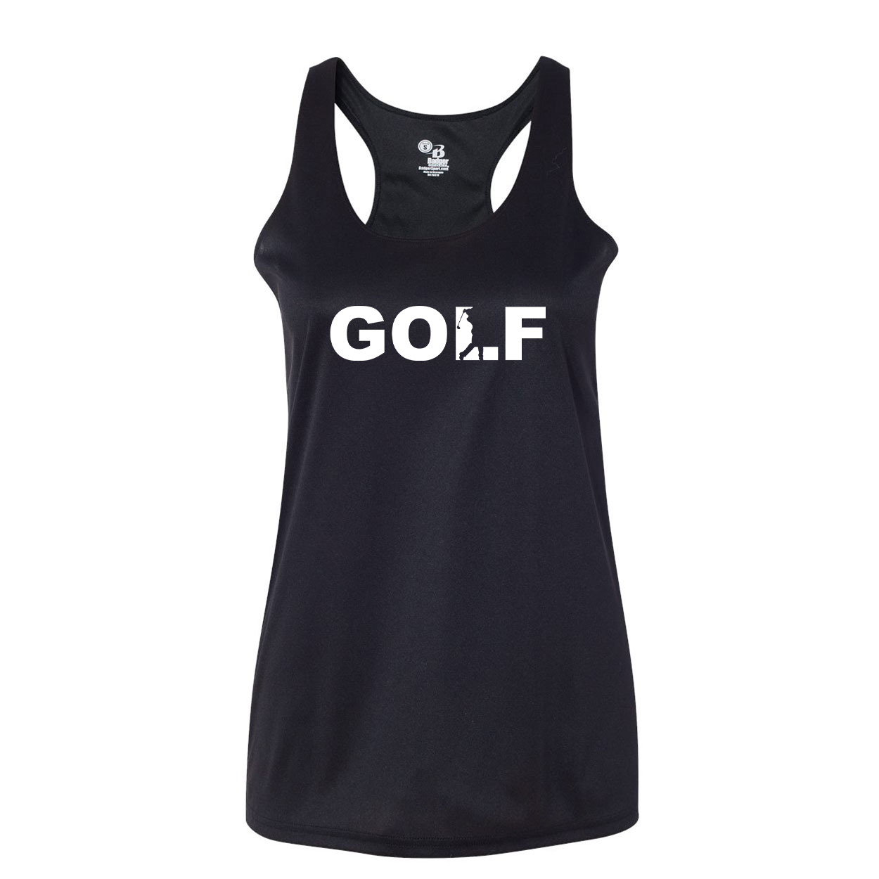 Golf Swing Logo Classic Womens Performance Racerback Tank Top Black (White Logo)
