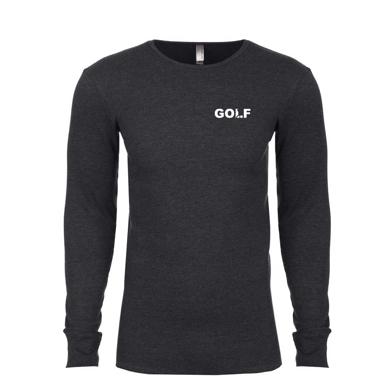 Golf Swing Logo Long Sleeve Thermal Shirt Heather Charcoal (White Logo)