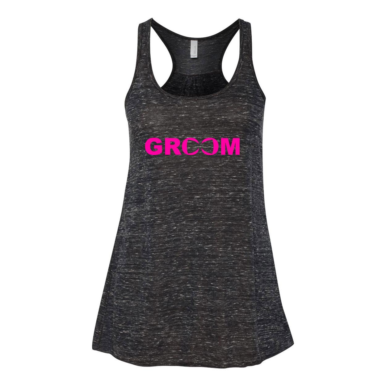 Groom Bow Tie Logo Classic Women's Flowy Racerback Tank Top Black Marble (Pink Logo)