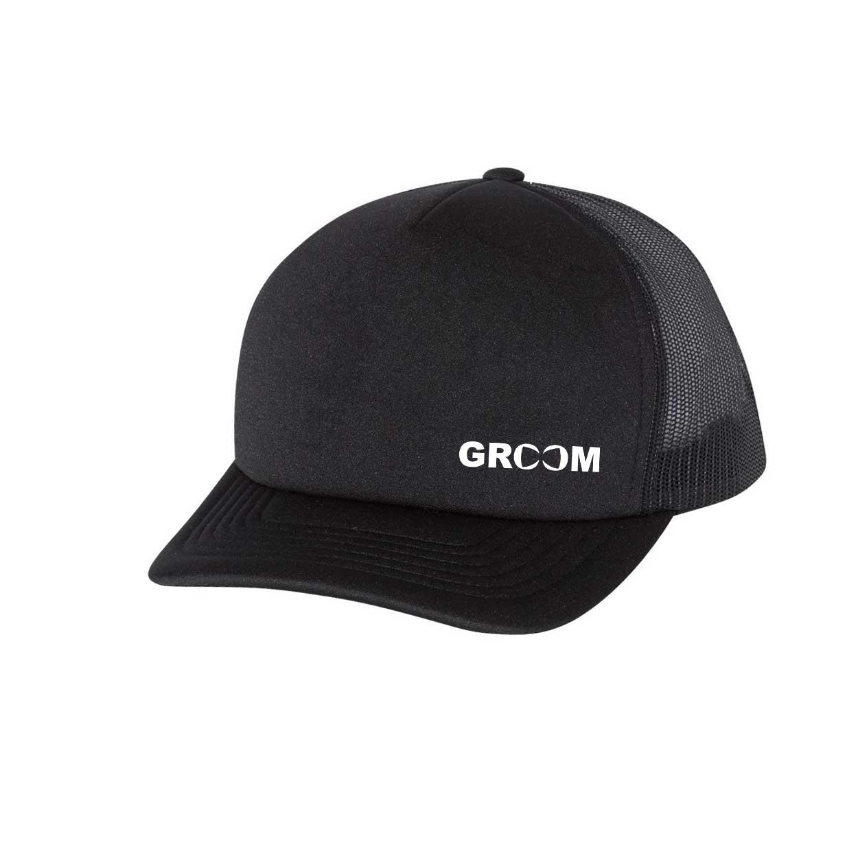 Groom Bow Tie Logo Night Out Premium Foam Trucker Snapback Hat Black (White Logo)