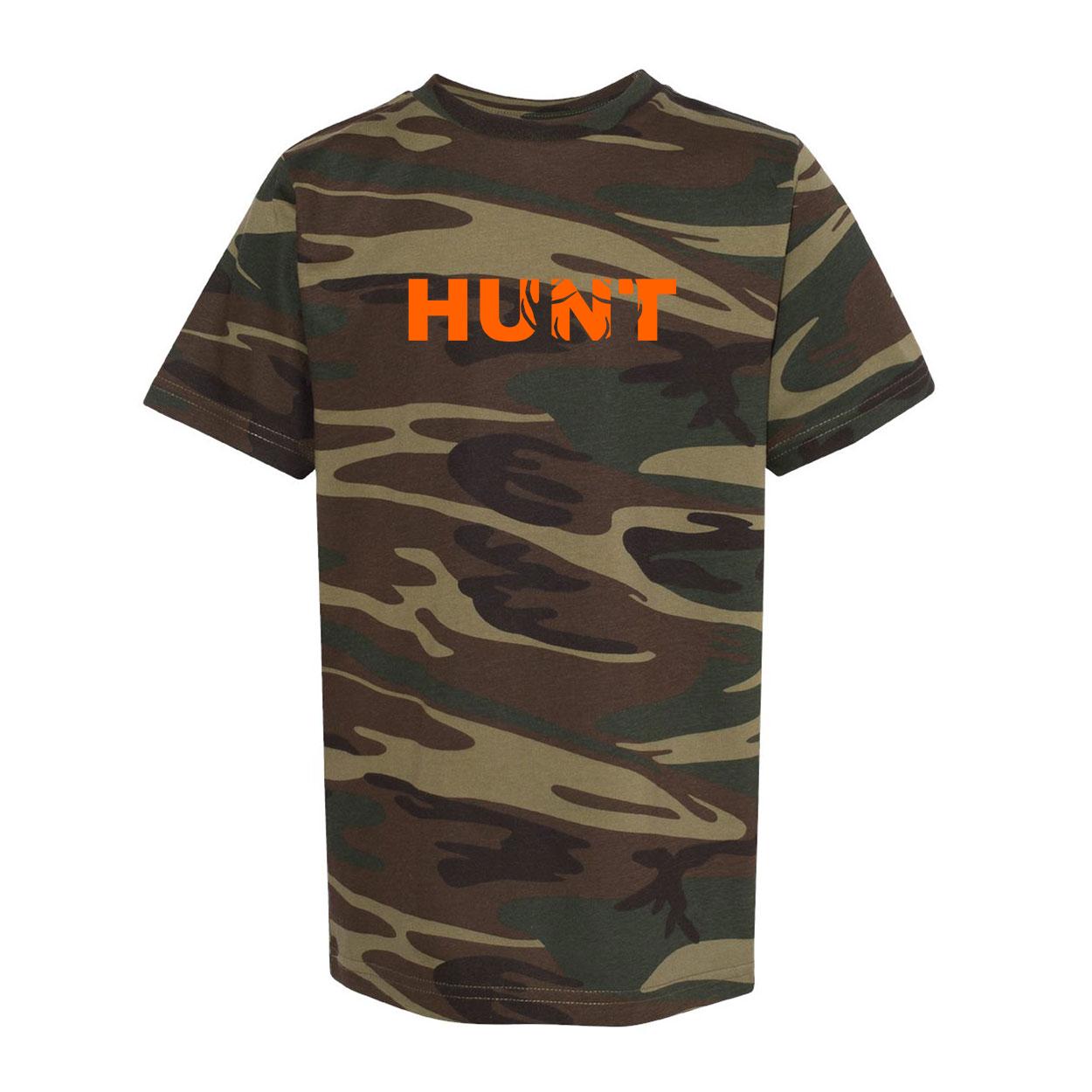 Hunt Rack Logo Classic Youth Unisex T-Shirt Camo (Orange Logo)