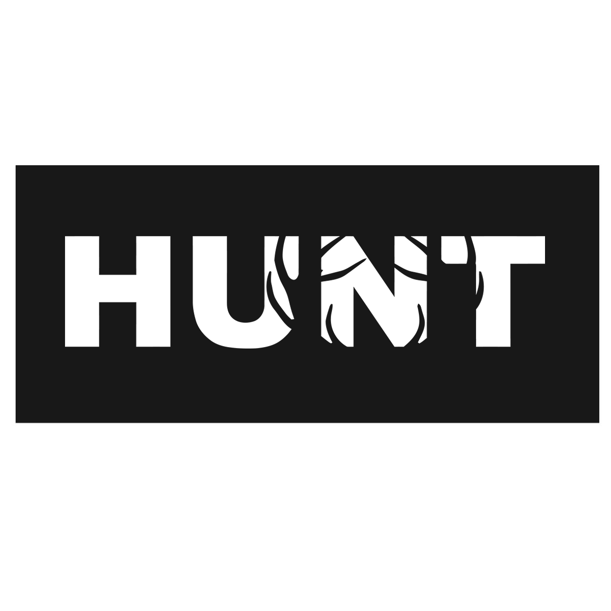 Hunt Rack Logo Classic Hardboard Sign (White Logo)
