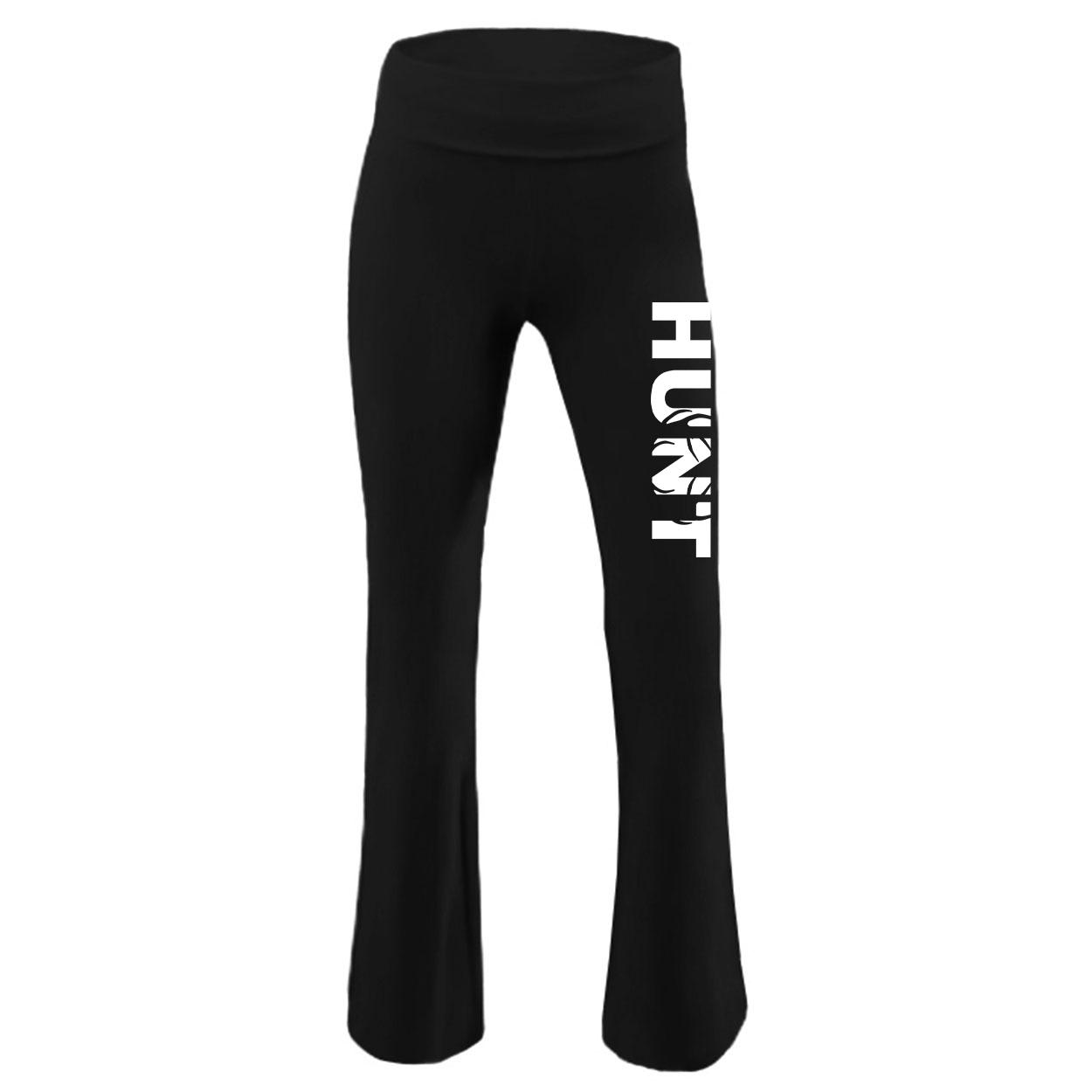 Hunt Rack Logo Classic Youth Girls Yoga Pants Black (White Logo)