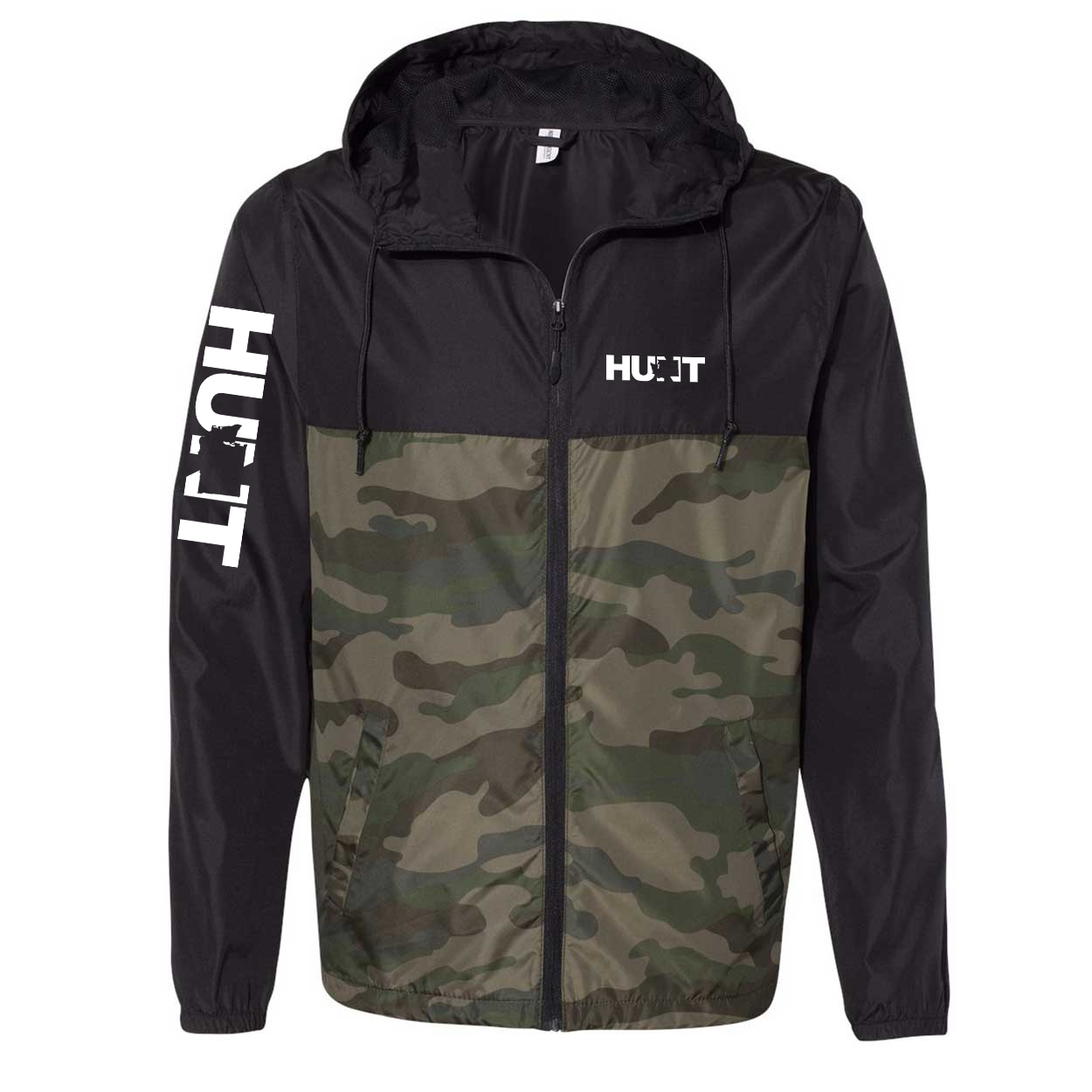 Hunt Washington Classic Lightweight Windbreaker Black/Forest Camo (White Logo)