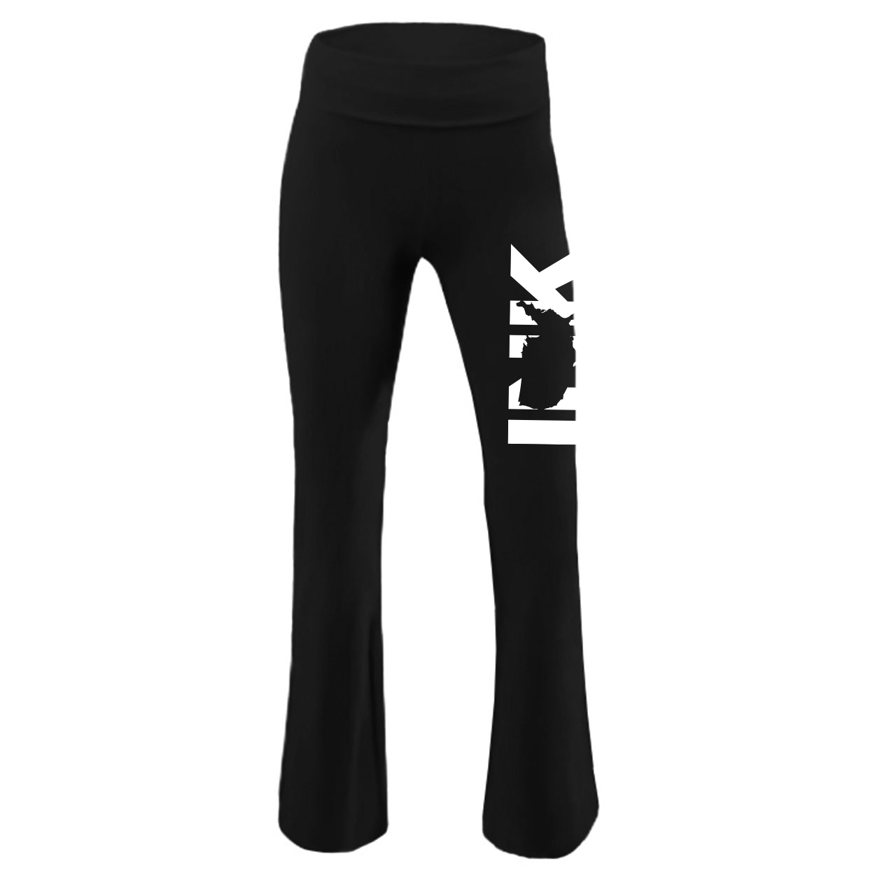 Ink United States Classic Youth Girls Yoga Pants Black (White Logo)