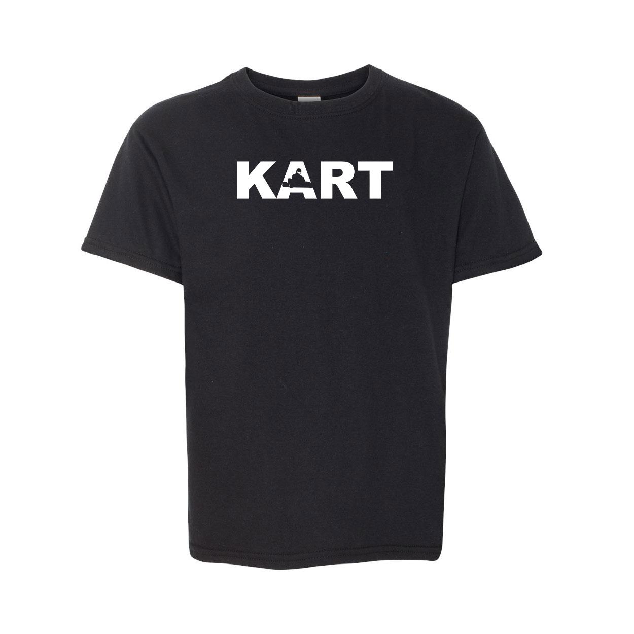 Kart Racer Logo Classic Youth T-Shirt Black (White Logo)