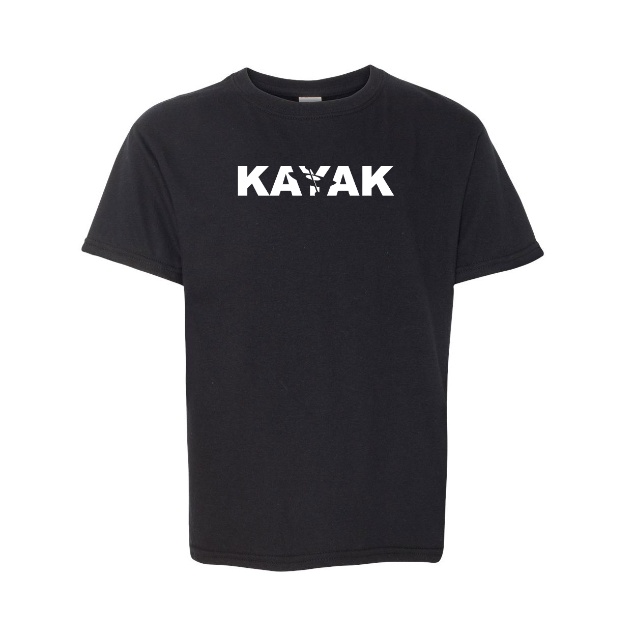 Kayak Hull Logo Classic Youth T-Shirt Black (White Logo)
