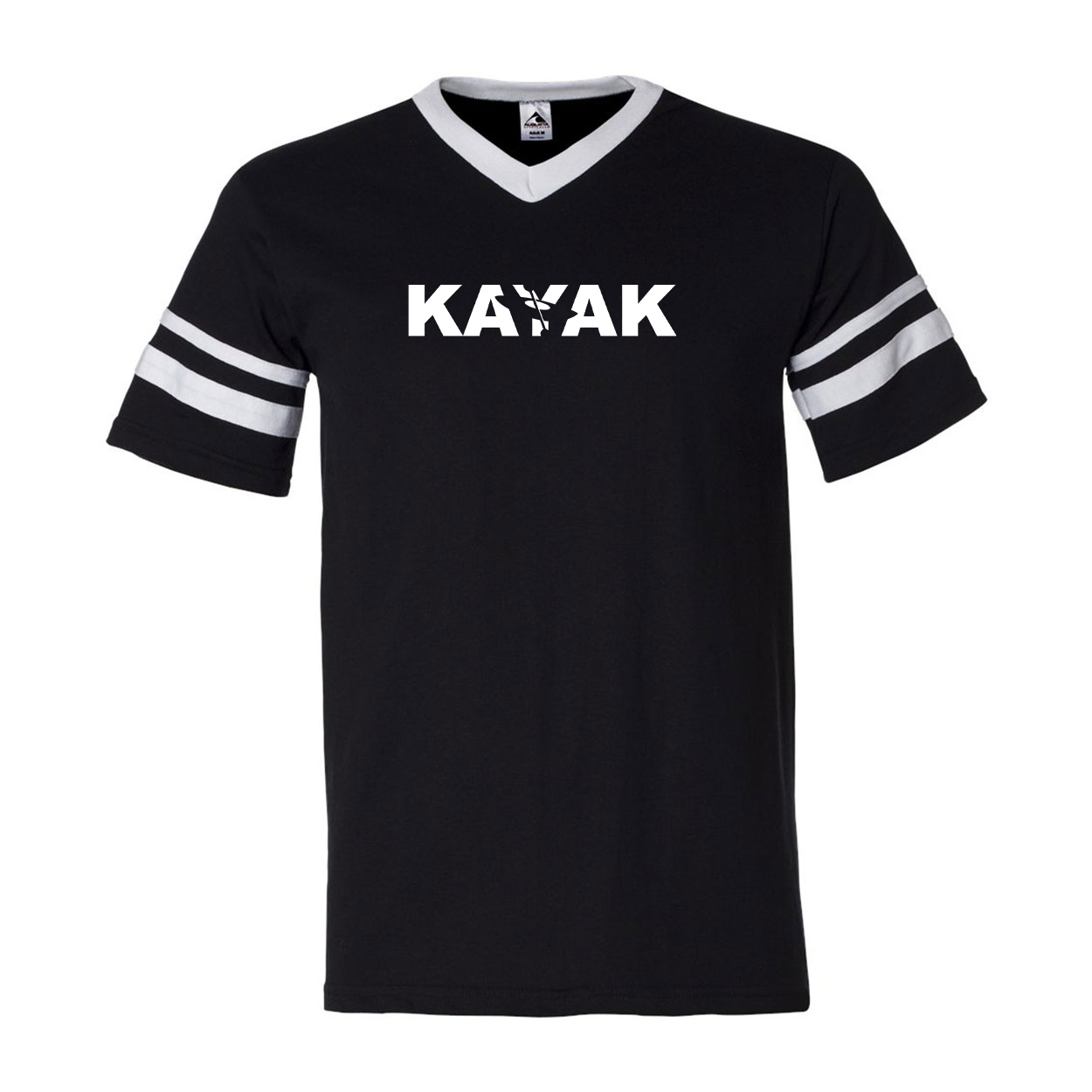 Kayak Hull Logo Classic Premium Striped Jersey T-Shirt Black/White (White Logo)