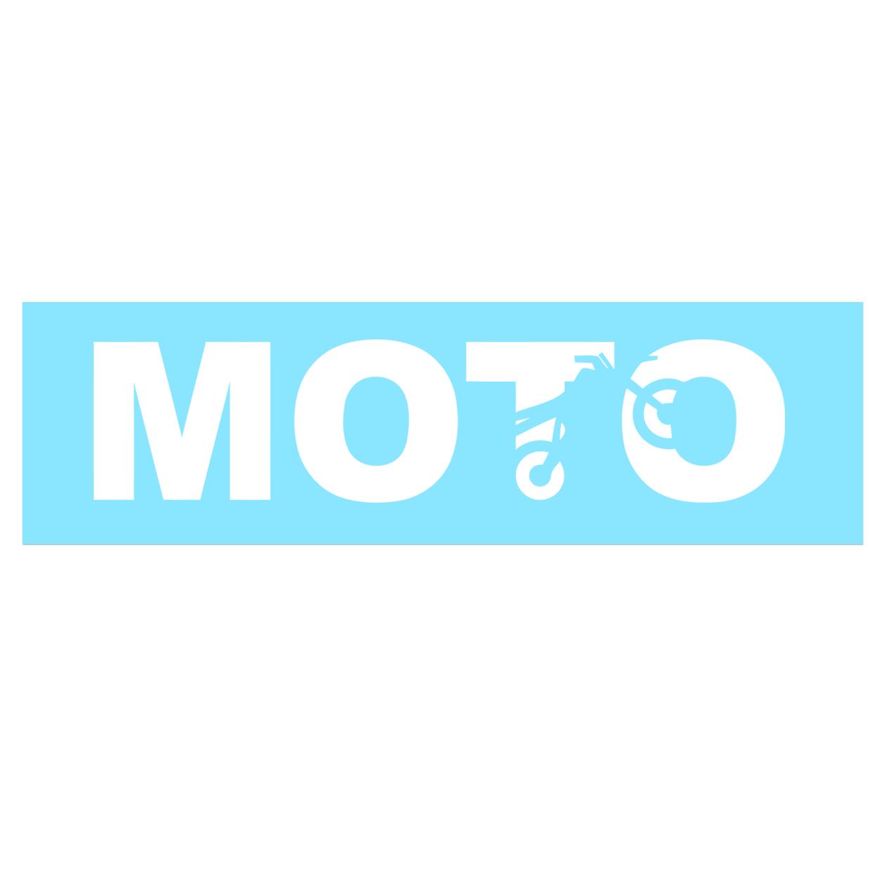 Moto Wheelie Logo Classic Decal (White Logo)