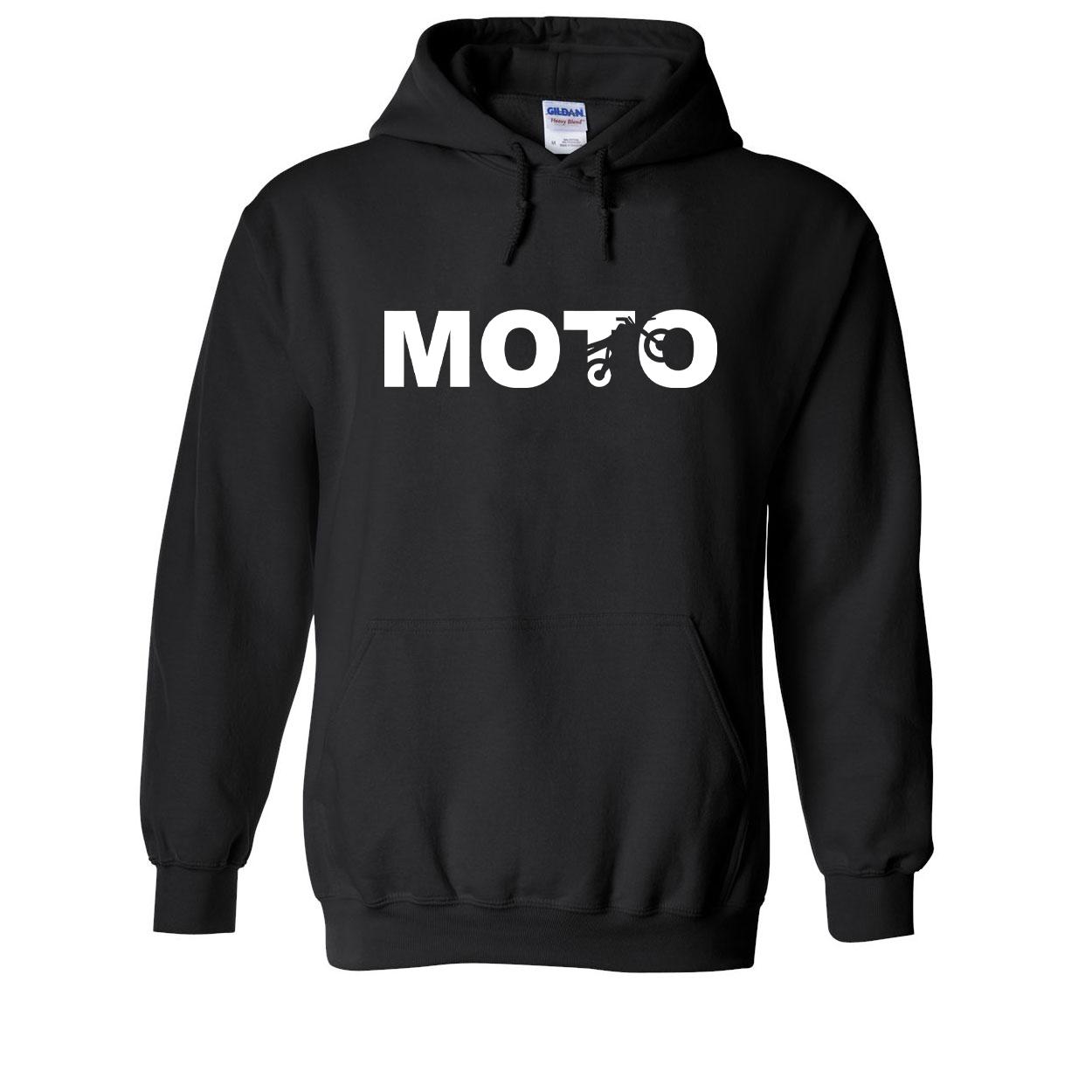 Moto Wheelie Logo Classic Sweatshirt Black (White Logo)
