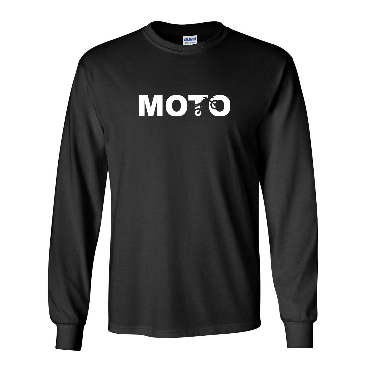 Moto Wheelie Logo Classic Long Sleeve T-Shirt Black (White Logo)