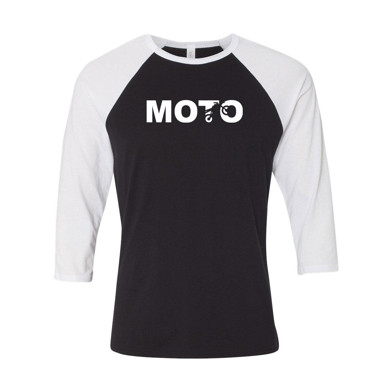 Moto Wheelie Logo Classic Raglan Shirt Black/White (White Logo)
