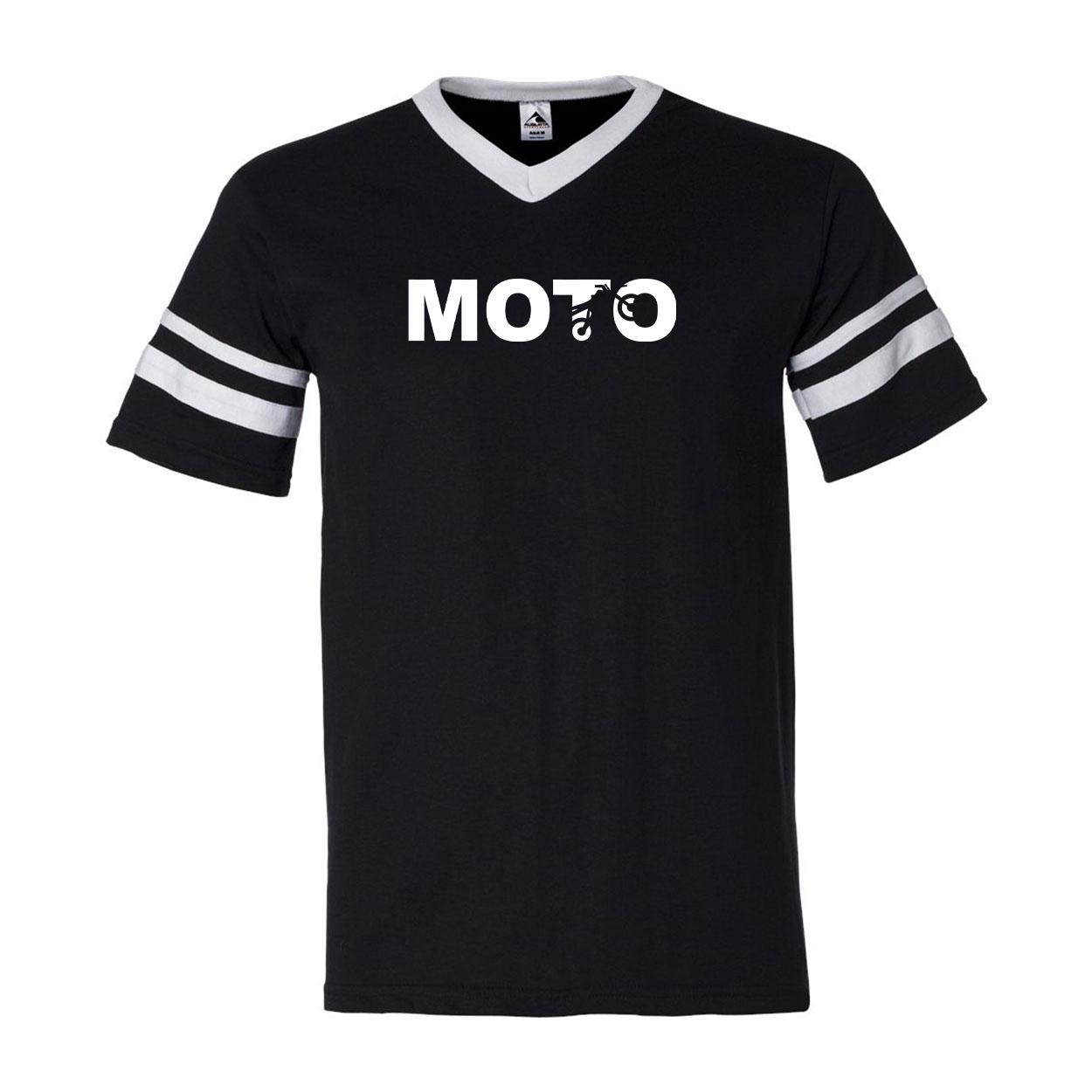 Moto Wheelie Logo Classic Premium Striped Jersey T-Shirt Black/White (White Logo)