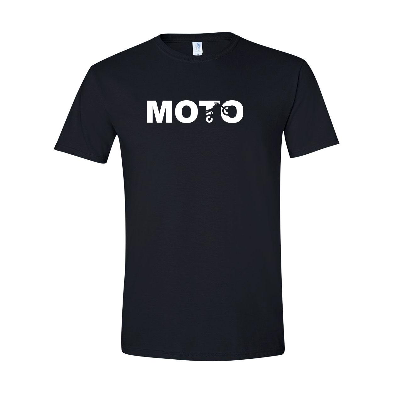 Moto Wheelie Logo Classic T-Shirt Black (White Logo)