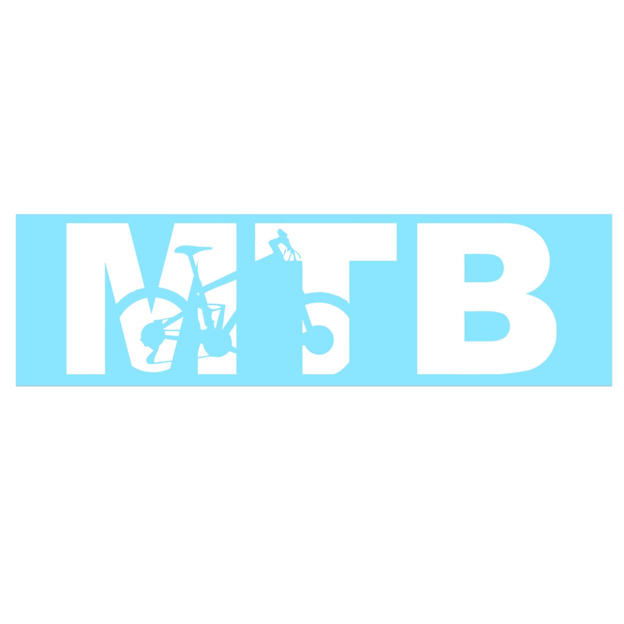 MTB Mountain Bike Logo Classic Decal (White Logo)