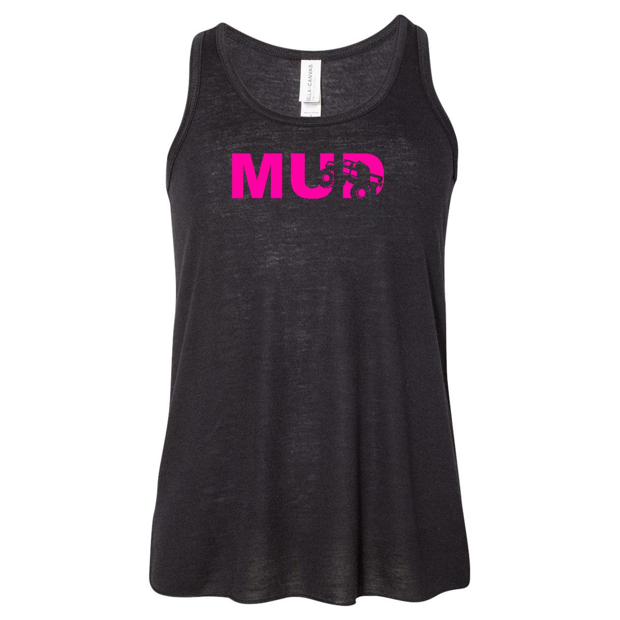 Mud Truck Logo Classic Youth Girls Flowy Racerback Tank Top Black (Pink Logo)