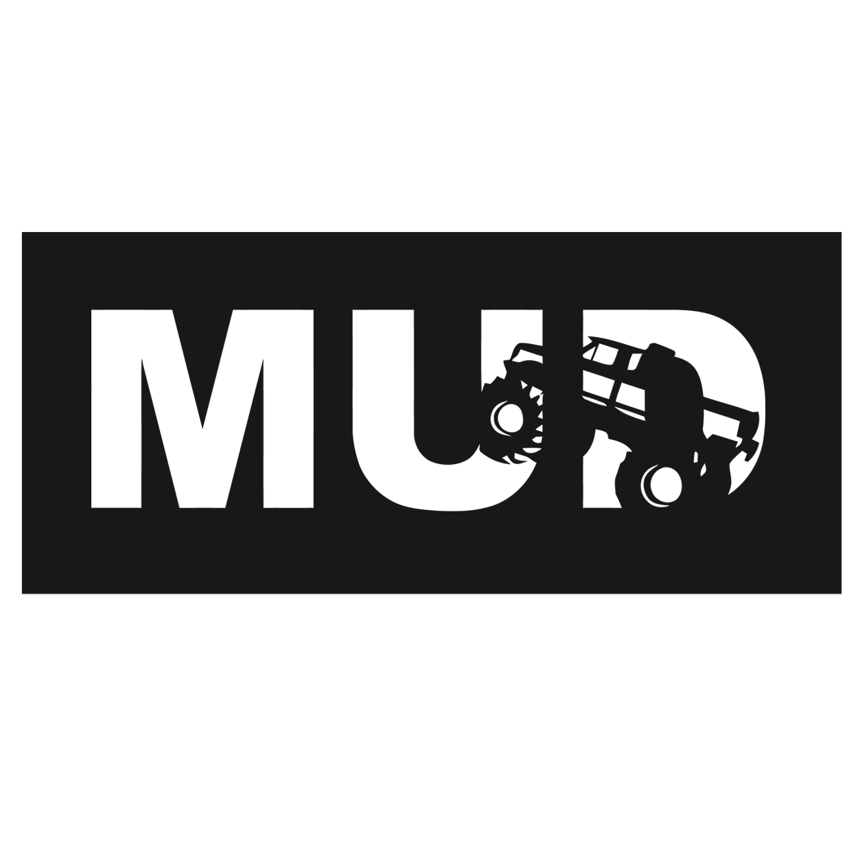 Mud Truck Logo Classic Hardboard Sign (White Logo)