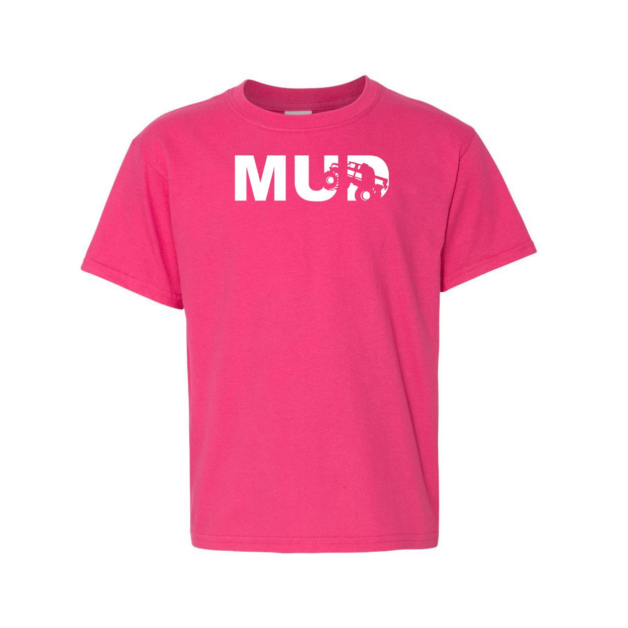Mud Truck Logo Night Out Youth T-Shirt Pink (White Logo)