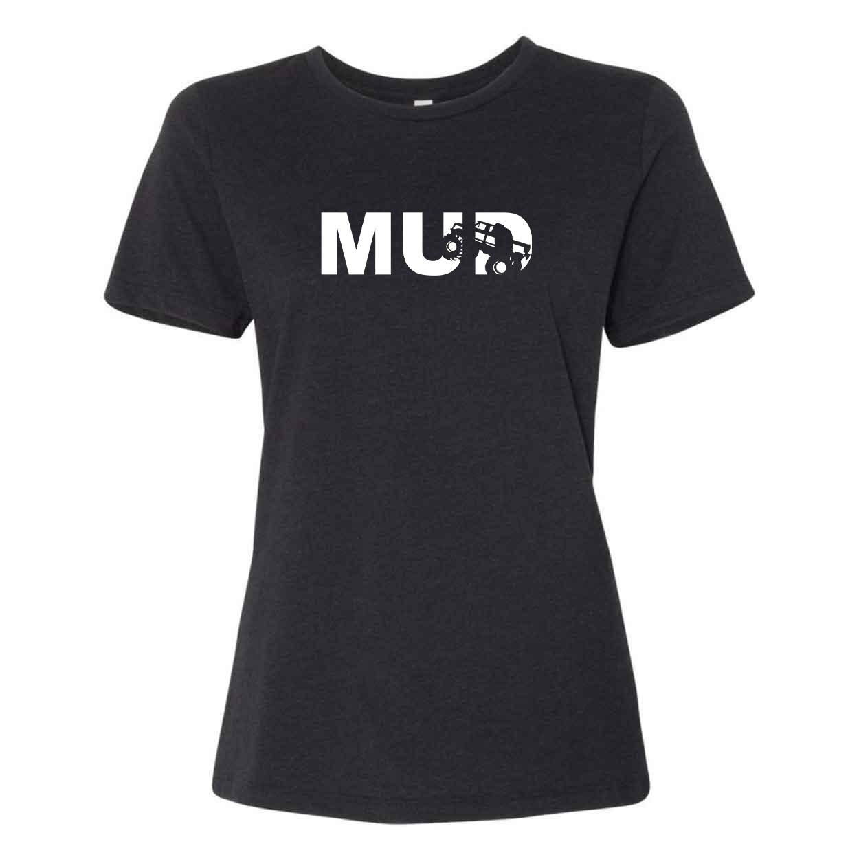 Mud Truck Logo Classic Women's Relaxed Jersey T-Shirt Black Heather (White Logo)
