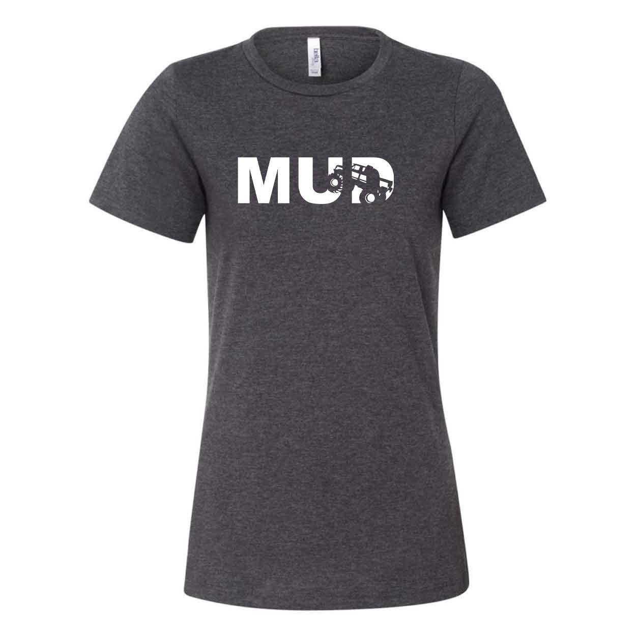 Mud Truck Logo Classic Women's Relaxed Jersey T-Shirt Dark Gray Heather (White Logo)