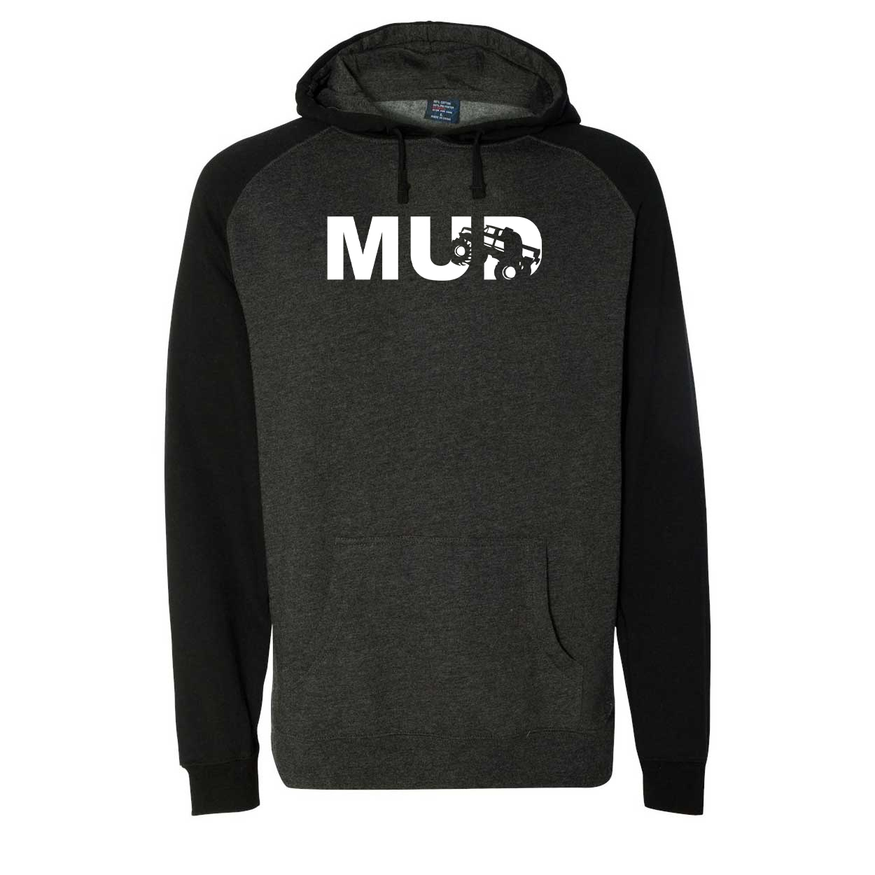 Mud Truck Logo Classic Raglan Hooded Pullover Sweatshirt Charcoal/Heather Black (White Logo)