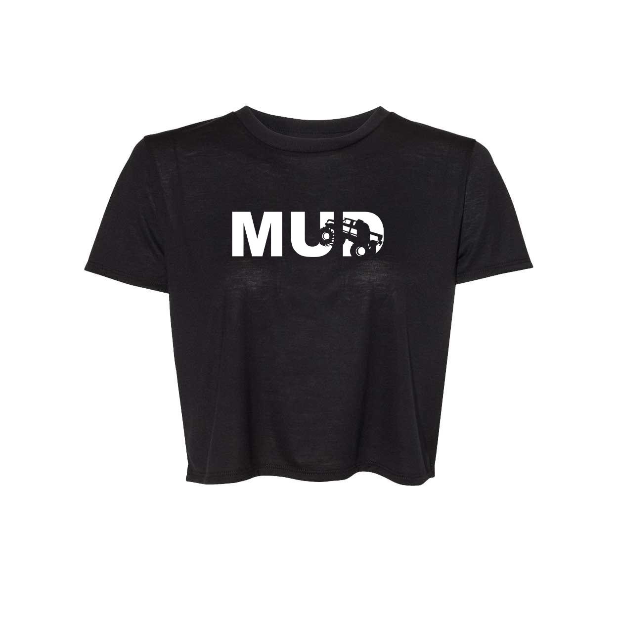 Mud Truck Logo Classic Womens Flowy Cropped Tee Black (White Logo)