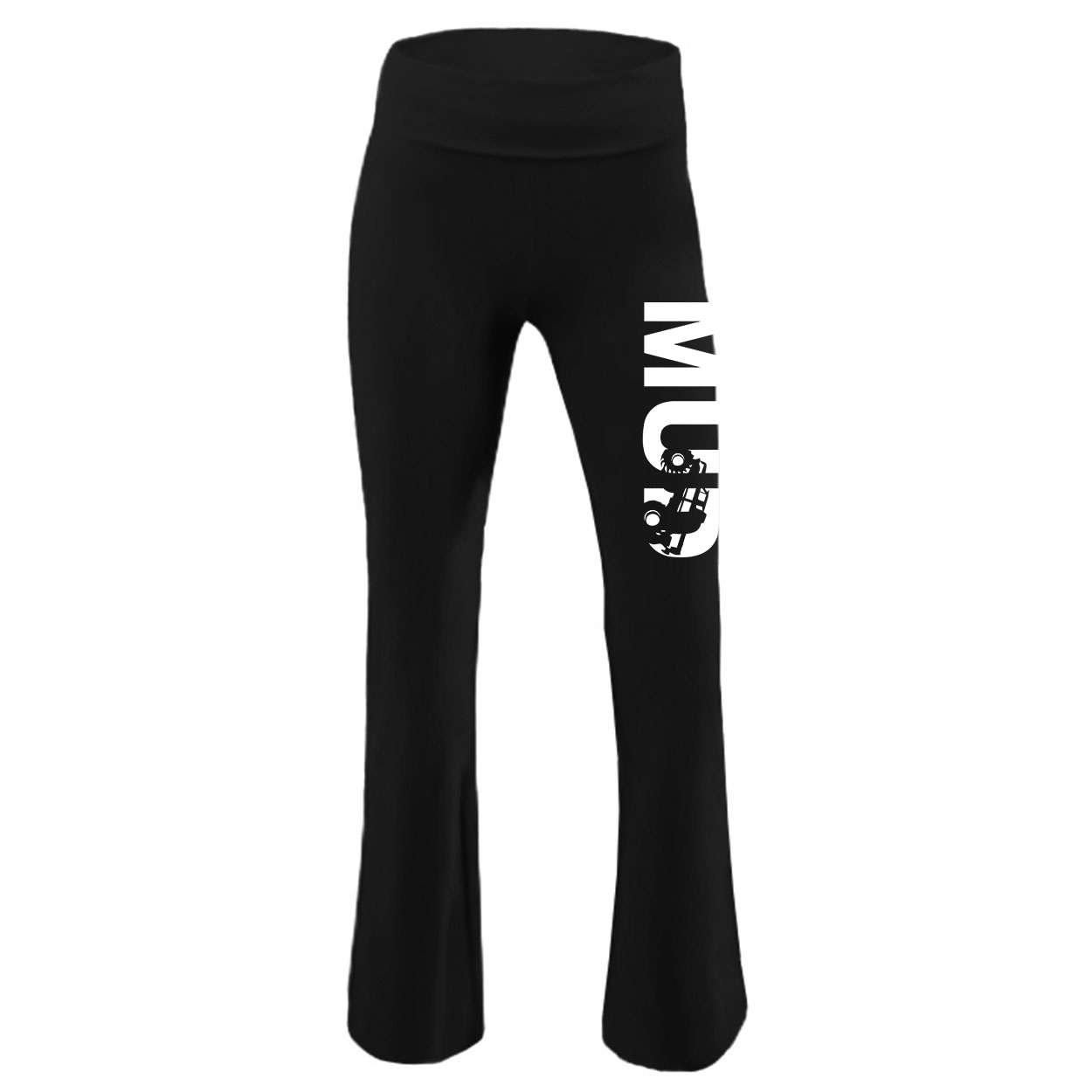 Mud Truck Logo Classic Youth Girls Yoga Pants Black (White Logo)