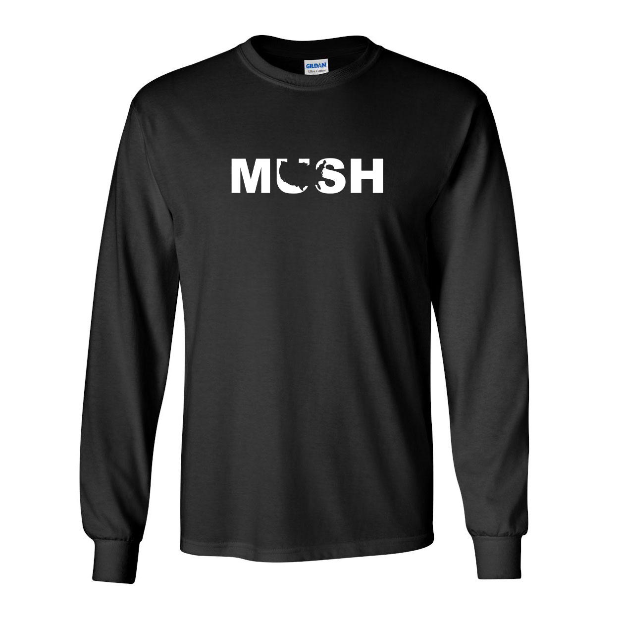Mush United States Classic Long Sleeve T-Shirt Black (White Logo)