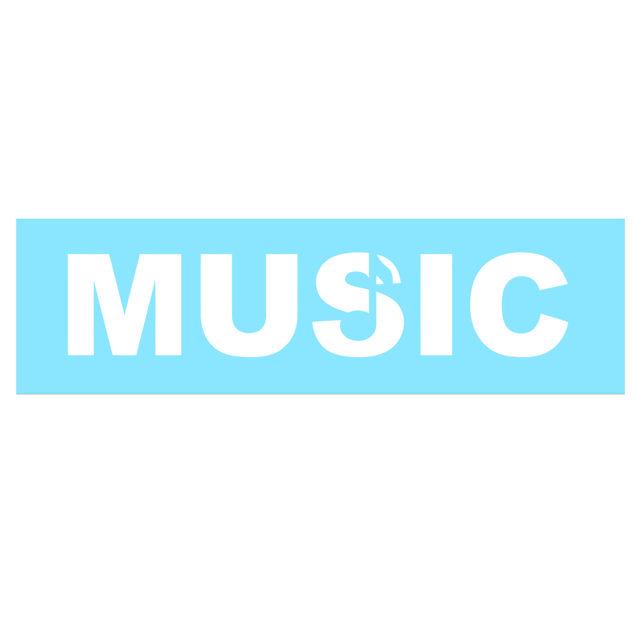 Music Note Logo Classic Decal (White Logo)