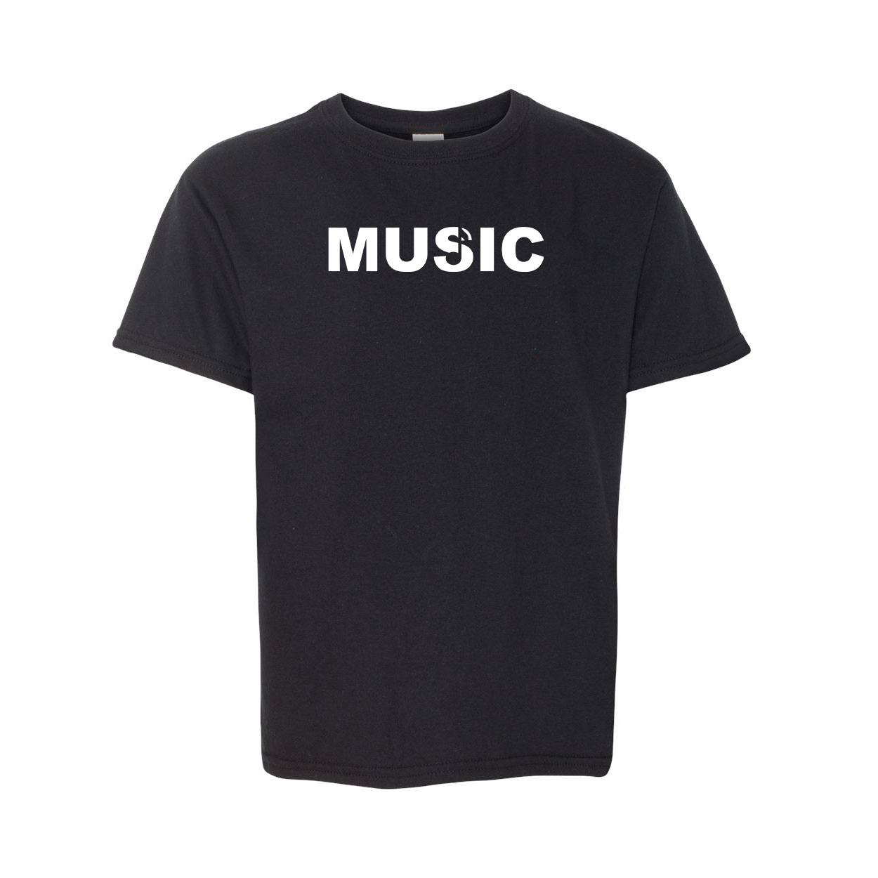 Music Note Logo Classic Youth T-Shirt Black (White Logo)