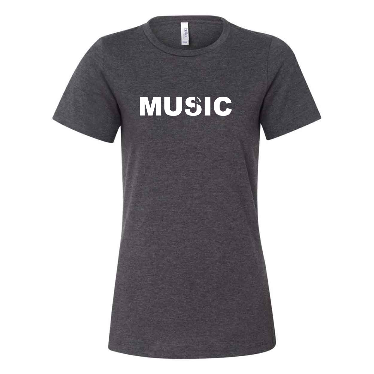 Music Note Logo Classic Women's Relaxed Jersey T-Shirt Dark Gray Heather (White Logo)