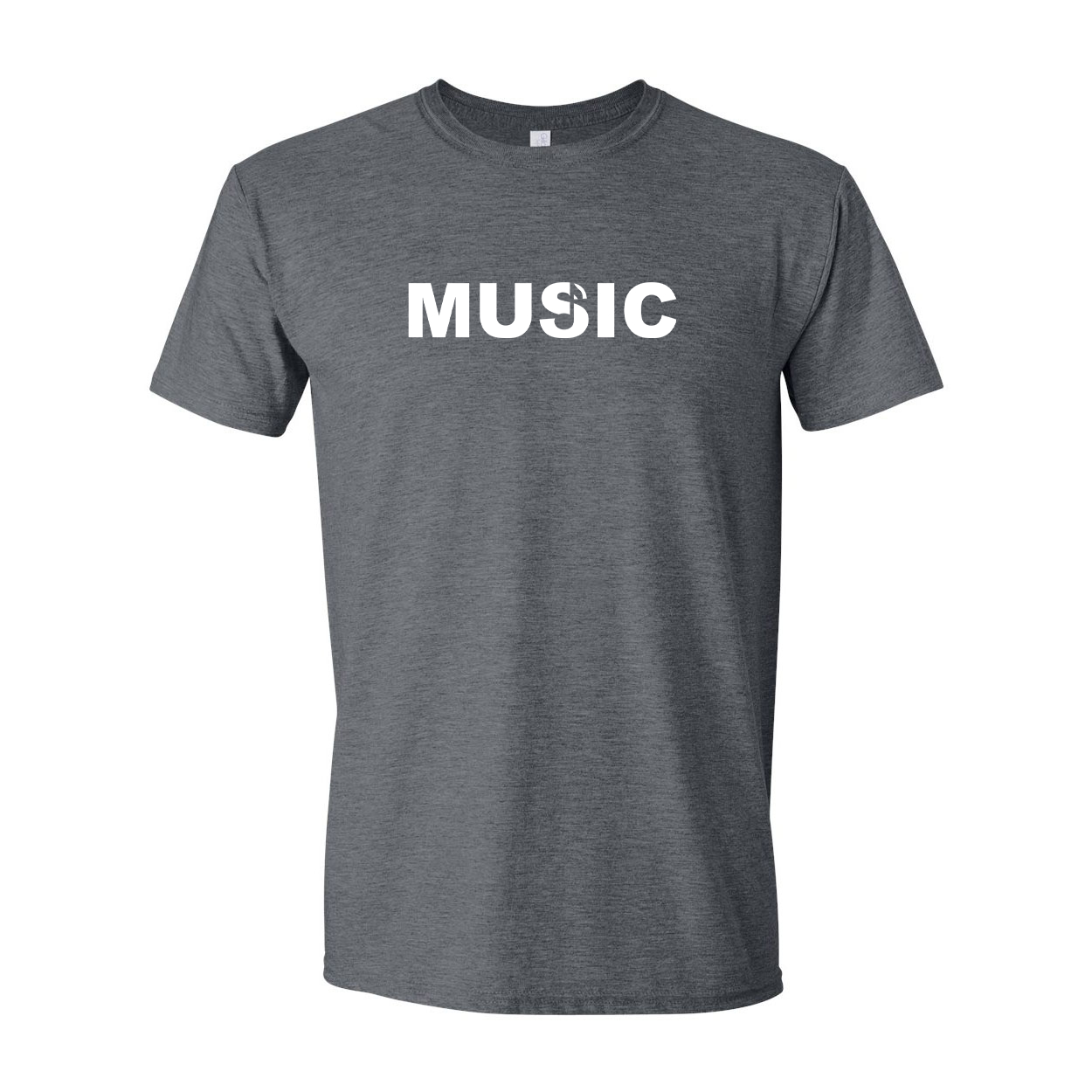 Music Note Logo Classic T-Shirt Dark Heather Gray (White Logo)