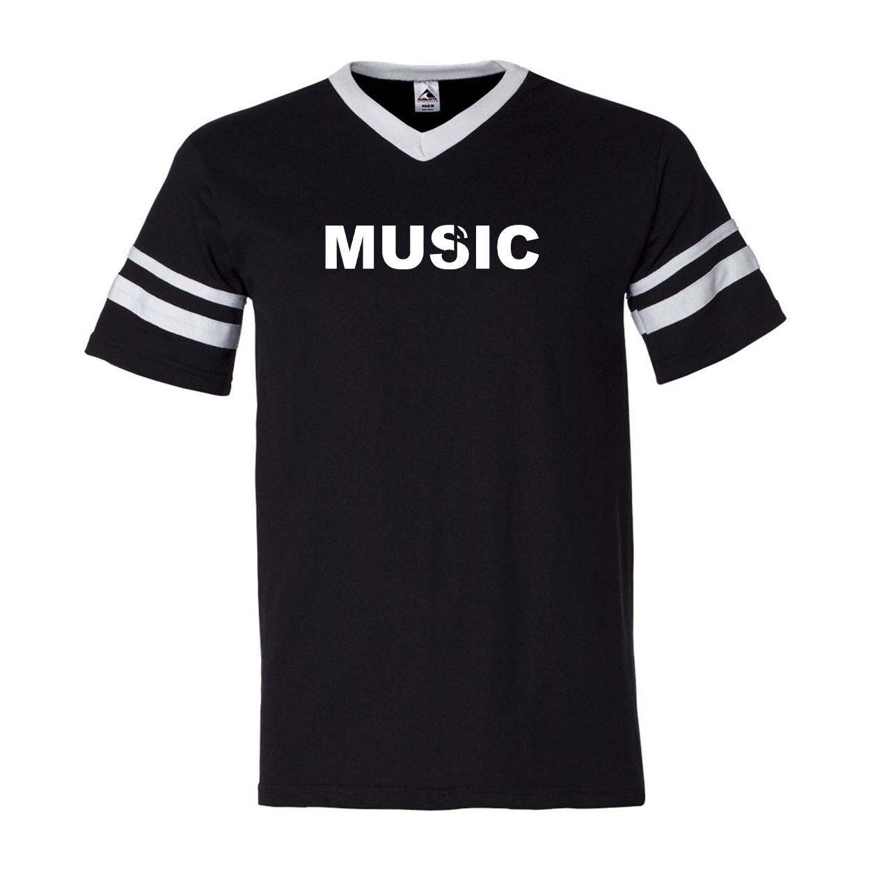 Music Note Logo Classic Premium Striped Jersey T-Shirt Black/White (White Logo)